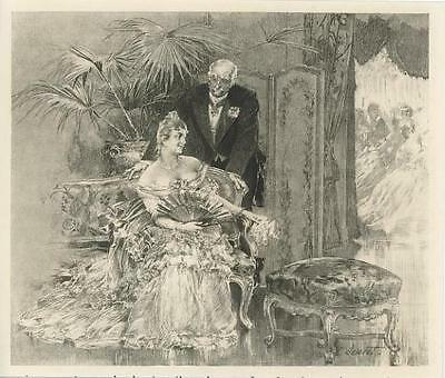 Antique Victorian Woman Eventail Gossamer Gown Palm Plant Foot Stool Small Print