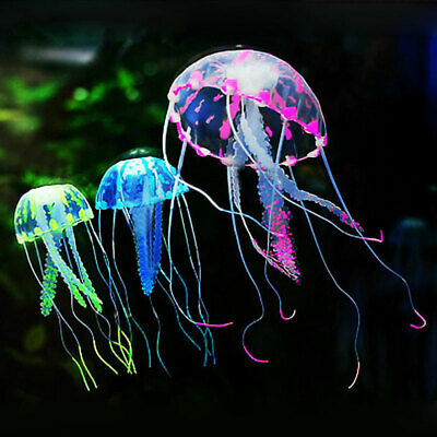 1 Pc Green/Pink/Blue Fish Tank Decor Artificial Jellyfish Floating w/Suction Cup