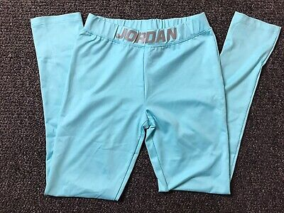 Nike Air Jordan Girls Juniors Dri-fit Workout Leggings Light Blue Size L