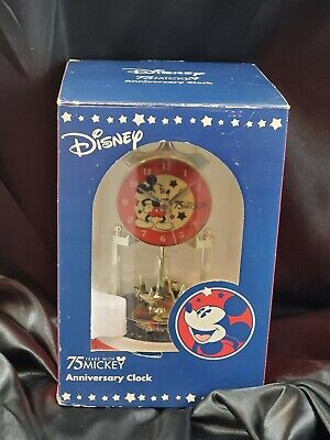 Disney 75 Years With Mickey Mouse Anniversary Clock Ceramic Base Tested Works