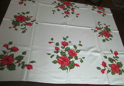 Bright Hibiscus Flower Vintage Floral Print Tablecloth~California Hand Print Tag