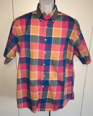 Jos. A. Bank Stays Cool Madras Plaid Short Sleeve Button Up Shirt Sz L EUC