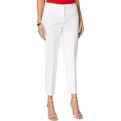 Nine West Womens White High Rise Office Straight Leg Pants 4 BHFO 7219