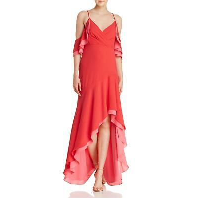 BCBG Max Azria Womens Red Cold Shoulder Hi-Low Evening Dress Gown 0 BHFO 6081