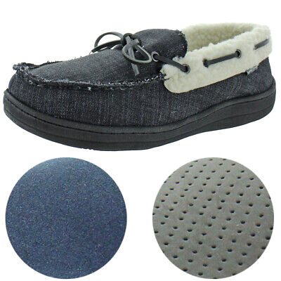 Ben Sherman Men's Jarod Textile Faux Shearling  House Shoes Moccasin Slippers