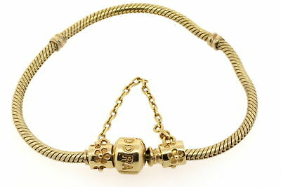 """Pandora 14k Yellow Gold Bracelet Barrel 550702 7 3/8"""" NO SAFETY CHAIN INCLUDED"""