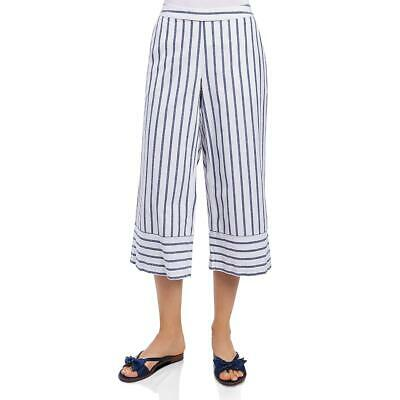 Foxcroft Womens Navy Striped Cropped Daytime Cropped Pants S BHFO 0899