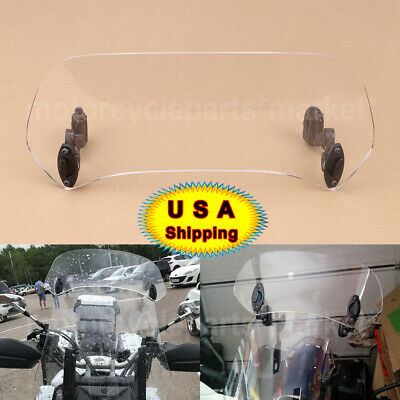 Clear -Motorcycle Adjustable Clip On Windshield Extension Spoiler Wind Deflector
