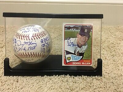 """Denny Mclain Signed Multi Stat Ball And Rookie Card """"Last 30 Game Winner"""""""