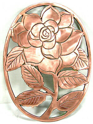 1983 OLD DUTCH DESIGN - Copper over Cast Iron - Rose Trivet/Wall Hanging Decor