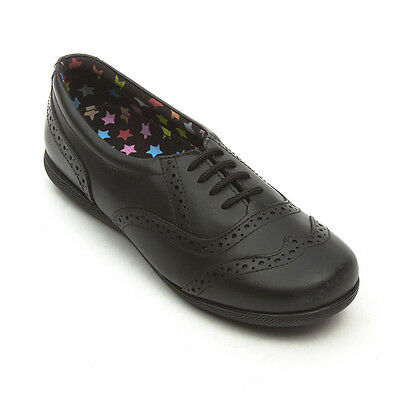 Girls Genuine Leather Hush Puppies Starie Shoes/School Size 1 Black 4 Xtr Insole