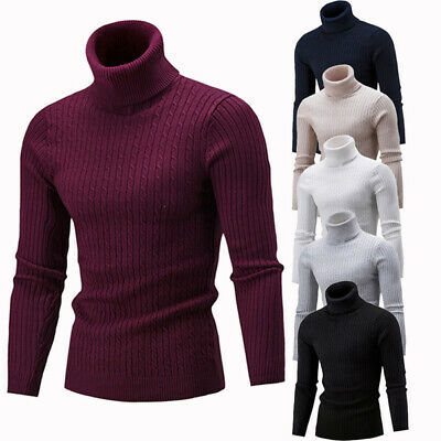 Mens Winter Warm Knitted High Roll Turtle Neck Pullover Sweater Jumper Tops N