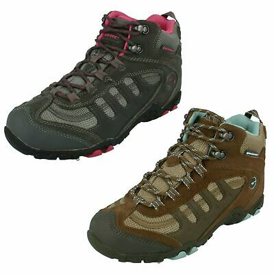 Ladies Hi Tec Waterproof Lace Up Leather & Textile Ankle Boots Penrith Mid WP