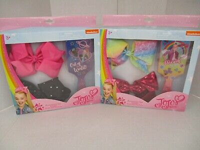 2 Jojo Siwa Accessory Sets 4 Bows + 2 Brushes - Assorted - New - Ap 3467