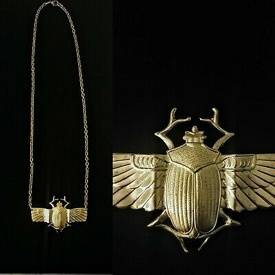 Vintage 1940s Egyptian Revival Scarab Necklace Amazing!