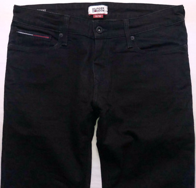 Mens TOMMY HILFIGER Sidney Jeans W32 L30 Black Stretch Skinny Fit