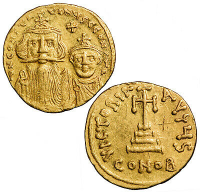Gold solidus of the Byzantine emperor Constans II with Constantine IV.