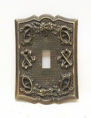 Vintage Sears Ornate Antique Brass Metal Single Switch Plate Cover Floral