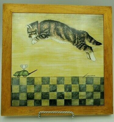 1982 Lowell Herrero Cat Pouncing on a Wind Up Mouse Tile Trivet in Wood Frame