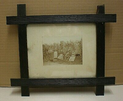 """Antique Black Forest """"Oxford"""" Picture Frame With Original Alpine Farmers Photo"""