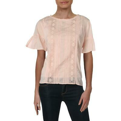 Velvet Womens Cotton Lace Inset Daytime Blouse Top BHFO 6257