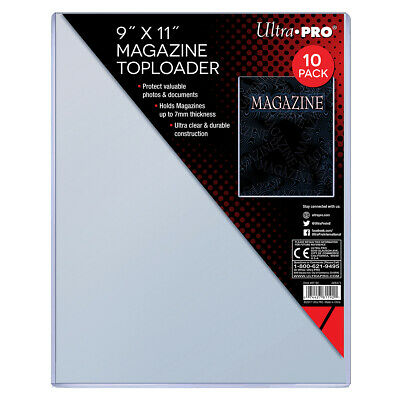 """Pack of 10 Thick Magazine Toploaders 9"""" x 11"""" Clear Holder 7mm Ultra Pro NEW"""
