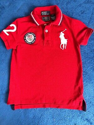 Rare Ralph Lauren Boys T Shirt Polo  Red London Olympic Size 4 Years