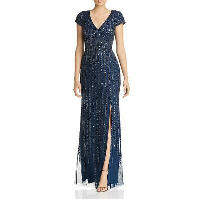Adrianna Papell Womens Beaded V-Neck Formal Evening Dress Gown BHFO 1883