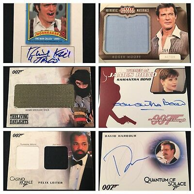 6 James Bond Material Autograph Cards Panini Jaws Moore Harbour Leiter Bomb Sack