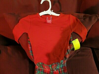 Style Infant 2 Piece Pajamas by Target Red Top & Plaid Fleece Pants 18M