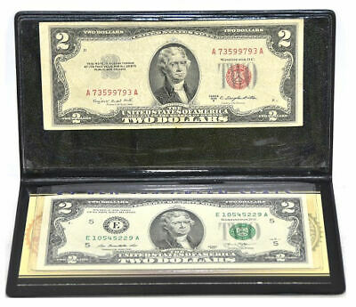 First Commemorative Mint $2 Red & $2 Green Seal Bills With Silver Certificate