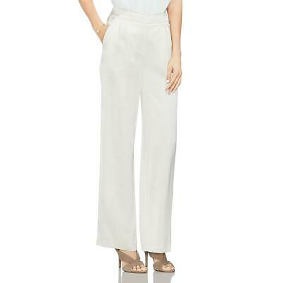 Vince Camuto Womens Ivory Satin Pleated High Rise Wide Leg Pants 6 BHFO 4000