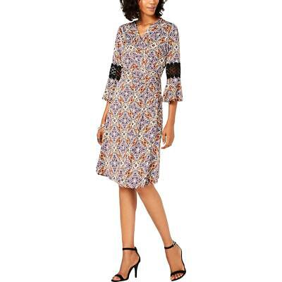 NY Collection Womens Gold Print Bell Sleeves Wrap Dress Petites PXS BHFO 6800