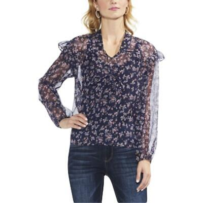 Vince Camuto Womens Ditsy Manor Floral Sheer V-Neck Blouse Top BHFO 6159
