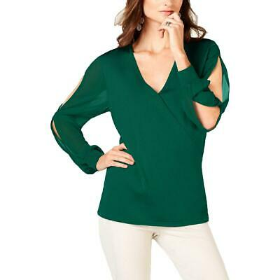 INC Women's Split Sleeve Faux Wrap Surplice Pullover Sweater