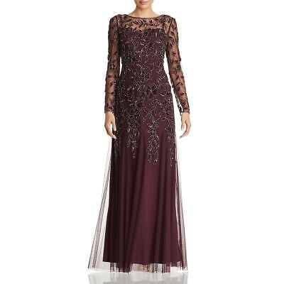 Adrianna Papell Womens Beaded Long Sleeves Formal Evening Dress Gown BHFO 1909