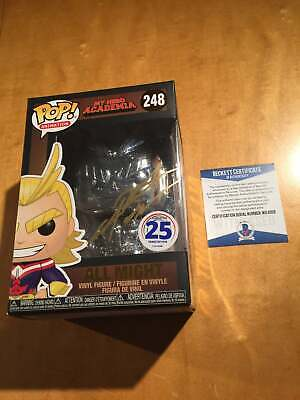 Funko Pop All Might Chrome signed Sabat Beckett Authenticated