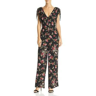 Band of Gypsies Womens Floral Wide Leg Faux Wrap Jumpsuit BHFO 7081