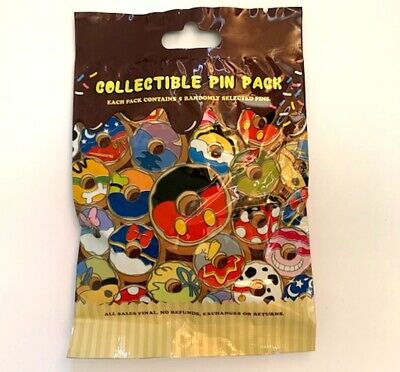New Disney Mickey & Friends Donut Collectible Mystery 5 Pin Pack