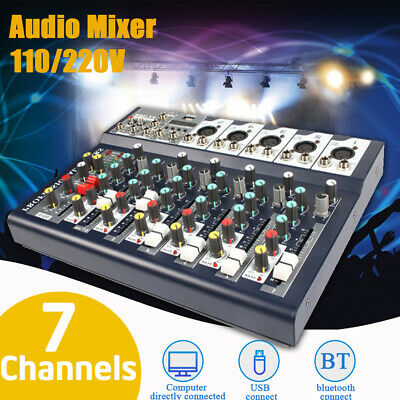 Professional 7 Channels Live Studio Audio Mixer Sound Mixing Phantom Console  !