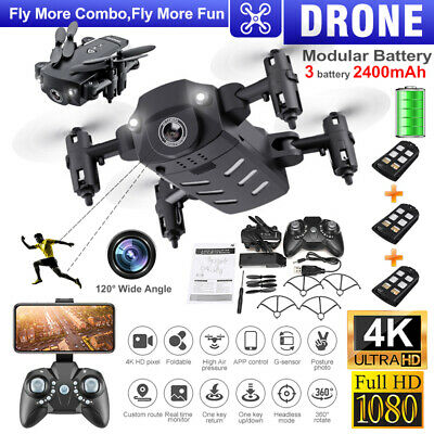 1080P/4K HD Wifi APP FPV Wide-angle Camera RC Drones Quadcopter Foldable+Battery