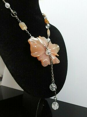 Chinese Antique Carnelian Pendant Rock Crystal White Jade Necklace 925 S Silver