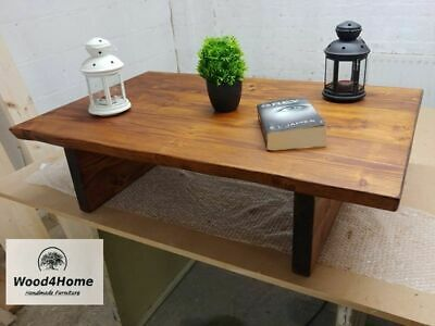 Handmade Rustic Live Edge Coffee Table  Solid Wood L100. D60. H27cm