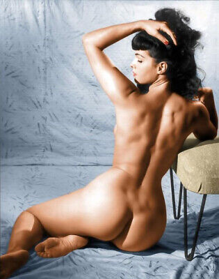 Beautiful Bettie Page Sexy Pin Up Girl  - Naked Backside - Color 8 x 10 Photo