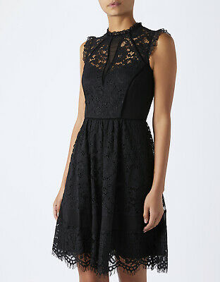 BNWT MONSOON Rene Black Lace Victorian High Neck Cocktail Party Dress Size 12