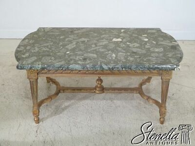 L30108EC: French Louis XVI Style Marble Top Gold Gilt Coffee Table