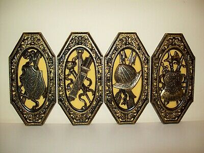 1960s HOMCO Renaissance Gothic Spanish Wall Plaques COAT OF ARMS Medieval