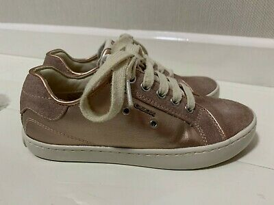 Geox Girls Trainers In Pink Metallic Leather & Suede - Uk 12.5 Eur 31