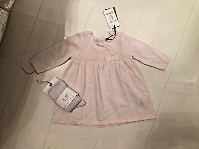 New Mothercare Baby Girls My First Dress & Tights - Pink & White Knit-Up To 3M