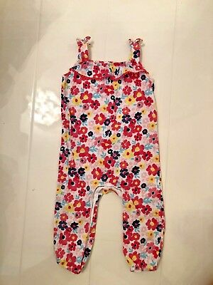 F+F Tesco Girls Floral Print Jersey Cotton Loose Fit Jumpsuit - 6-9 Mths